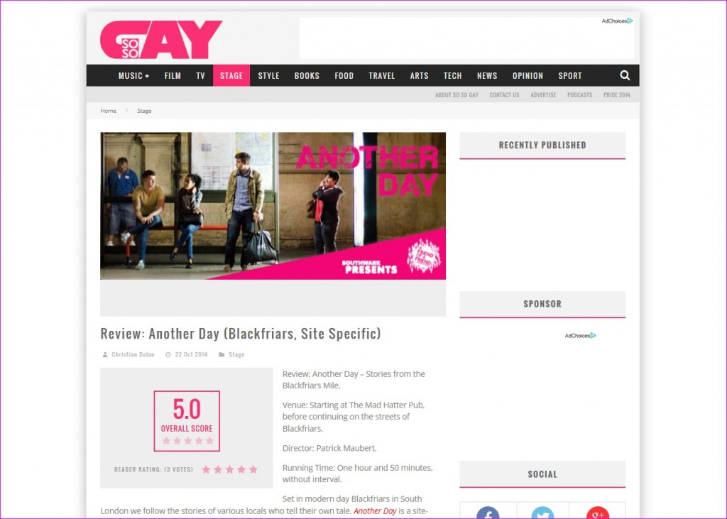 ANOTHER DAY SoSoGay review press